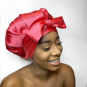Pearl Satin Bonnet – Sweet Salmon